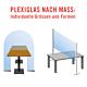 Plexiglas Schutzscheiben für Büroräume oder Theken. Individuelle Grössen und Formen des Acrylglas. Dient als Spuckschutz.